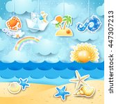 summer seascape with hanging...   Shutterstock .eps vector #447307213