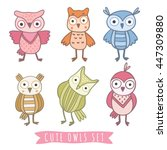 cute cartoon vector owls... | Shutterstock .eps vector #447309880