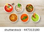 variety of restaurant hot... | Shutterstock . vector #447313180