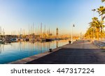 yacht port in barcelona at... | Shutterstock . vector #447317224