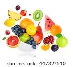 fresh fruits on white... | Shutterstock . vector #447322510