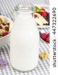 bottle of fresh milk and...   Shutterstock . vector #447322690