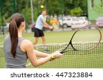 skillful tennis players... | Shutterstock . vector #447323884