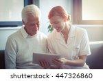 female nurse showing medical... | Shutterstock . vector #447326860