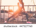warming up before jogging.... | Shutterstock . vector #447327760