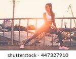 warming up. beautiful young... | Shutterstock . vector #447327910