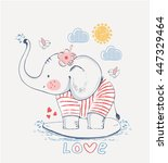 sailor elephant  hand drawn... | Shutterstock .eps vector #447329464