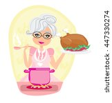 grandmother cooking soup and... | Shutterstock . vector #447330274