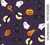 happy halloween vector seamless ...   Shutterstock .eps vector #447331030