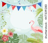 exotic floral vector background ... | Shutterstock .eps vector #447339280
