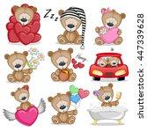 set of cute cartoon teddy bear... | Shutterstock .eps vector #447339628