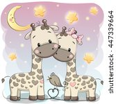 Two Cute Giraffes On A Stars...