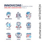online education icons set... | Shutterstock . vector #447343924