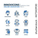 online education icons set... | Shutterstock . vector #447343930