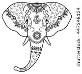 black and white elephant's head ... | Shutterstock . vector #447348124