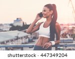 sharing her achievements with... | Shutterstock . vector #447349204