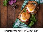 hamburger  sandwich  with... | Shutterstock . vector #447354184