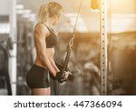 muscular fitness woman doing... | Shutterstock . vector #447366094