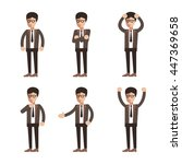 businessman character poses set | Shutterstock .eps vector #447369658