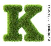 alphabet made from green grass. ... | Shutterstock . vector #447370486