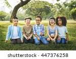 children friendship... | Shutterstock . vector #447376258