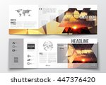 vector set of tri fold... | Shutterstock .eps vector #447376420