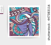 vector card  with doodles... | Shutterstock .eps vector #447383116