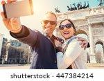 happy couple take a selfie... | Shutterstock . vector #447384214