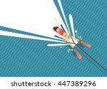 girl water skiing. top view of... | Shutterstock .eps vector #447389296