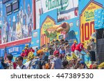 new york  july 4  2016   nathan'...   Shutterstock . vector #447389530