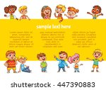 happy children holding blank... | Shutterstock .eps vector #447390883