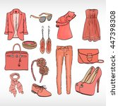 a set of women's clothing in... | Shutterstock .eps vector #447398308
