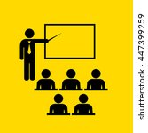 teacher and audience vector... | Shutterstock .eps vector #447399259
