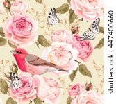 english roses and birds seamless | Shutterstock .eps vector #447400660