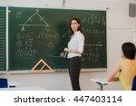 teacher answering pupils... | Shutterstock . vector #447403114