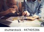 woman touching display digital...   Shutterstock . vector #447405286