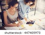 coworkers work process modern... | Shutterstock . vector #447405973