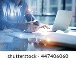 man typing laptop use... | Shutterstock . vector #447406060