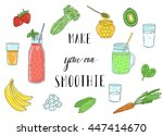 smoothie recipe with a bottle... | Shutterstock .eps vector #447414670