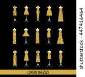 gold luxury dress set isolated... | Shutterstock .eps vector #447416464