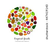 hand drawn tropical fruits in... | Shutterstock .eps vector #447419140