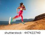 woman running. young girl...   Shutterstock . vector #447422740