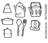 utensils in hand drawn floral... | Shutterstock .eps vector #447436288