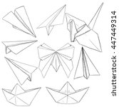 vector set of paper objects ... | Shutterstock .eps vector #447449314