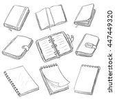 vector set of sketch notebooks  ... | Shutterstock .eps vector #447449320