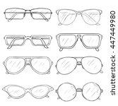 vector set of sketch glasses.... | Shutterstock .eps vector #447449980