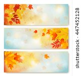 three abstract autumn banners... | Shutterstock .eps vector #447452128