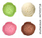 Stock photo four isolated ice cream scoops from top on white background 447453718