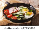 homemade fried eggs with ham... | Shutterstock . vector #447458806