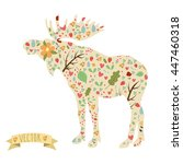 set of elements on the moose... | Shutterstock .eps vector #447460318